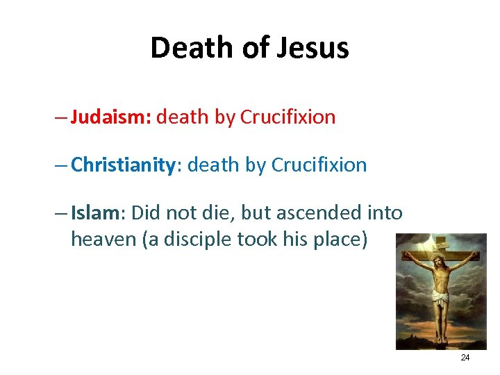 Death of Jesus – Judaism: death by Crucifixion – Christianity: death by Crucifixion –