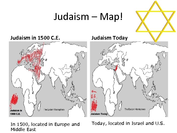 Judaism – Map! Judaism in 1500 C. E. Judaism Today In 1500, located in
