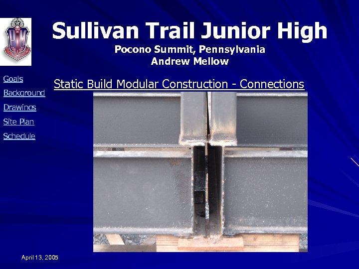 Sullivan Trail Junior High Pocono Summit, Pennsylvania Andrew Mellow Goals Background Static Build Modular