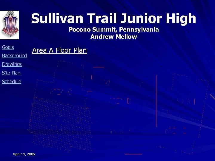Sullivan Trail Junior High Pocono Summit, Pennsylvania Andrew Mellow Goals Background Area A Floor