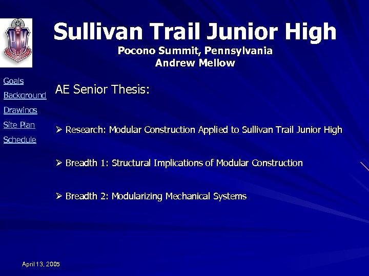 Sullivan Trail Junior High Pocono Summit, Pennsylvania Andrew Mellow Goals Background AE Senior Thesis: