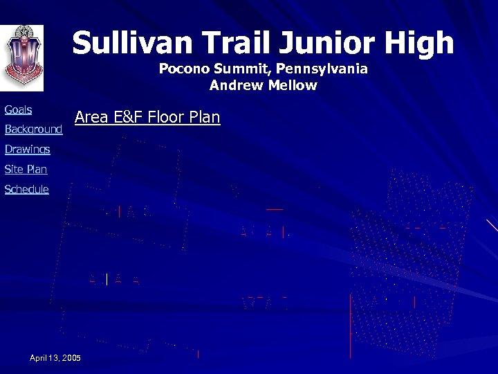 Sullivan Trail Junior High Pocono Summit, Pennsylvania Andrew Mellow Goals Background Area E&F Floor