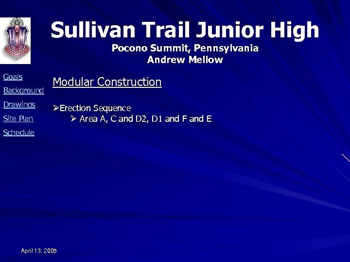 Sullivan Trail Junior High Pocono Summit, Pennsylvania Andrew Mellow Goals Background Drawings Site Plan