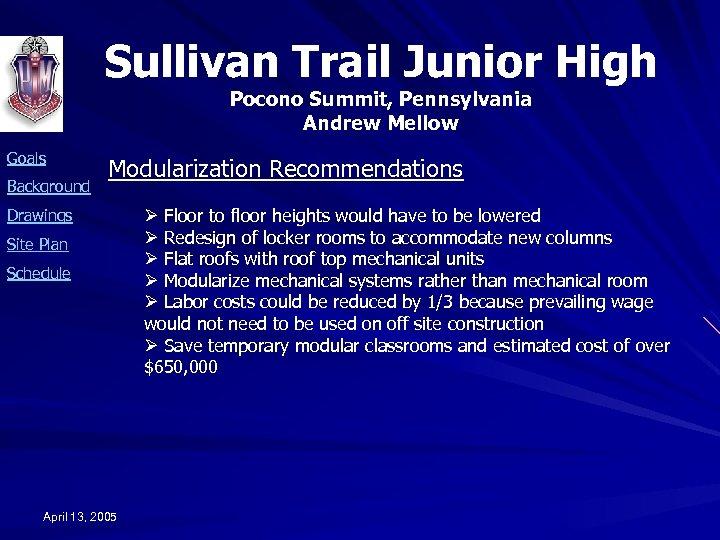 Sullivan Trail Junior High Pocono Summit, Pennsylvania Andrew Mellow Goals Background Modularization Recommendations Drawings