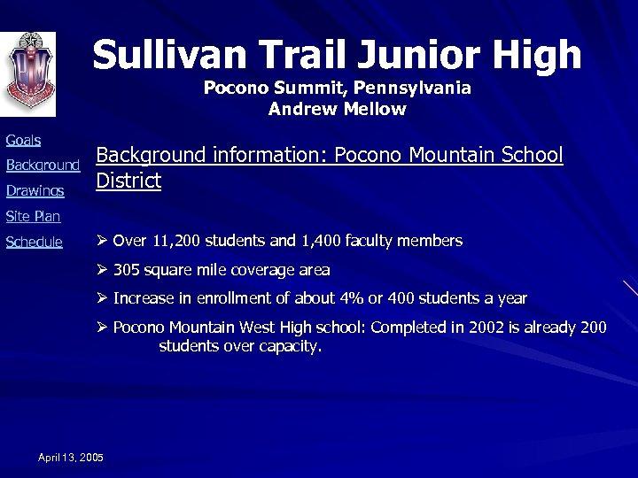 Sullivan Trail Junior High Pocono Summit, Pennsylvania Andrew Mellow Goals Background Drawings Background information:
