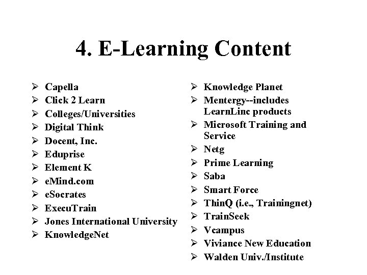 4. E-Learning Content Ø Ø Ø Capella Click 2 Learn Colleges/Universities Digital Think Docent,