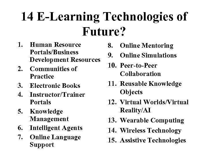 14 E-Learning Technologies of Future? 1. Human Resource Portals/Business Development Resources 2. Communities of