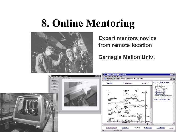 8. Online Mentoring Expert mentors novice from remote location Carnegie Mellon Univ.