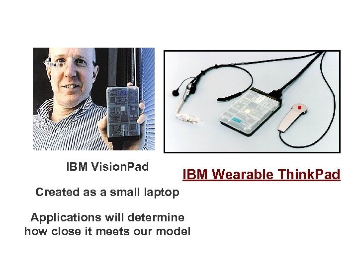 IBM Vision. Pad IBM Wearable Think. Pad Created as a small laptop Applications will