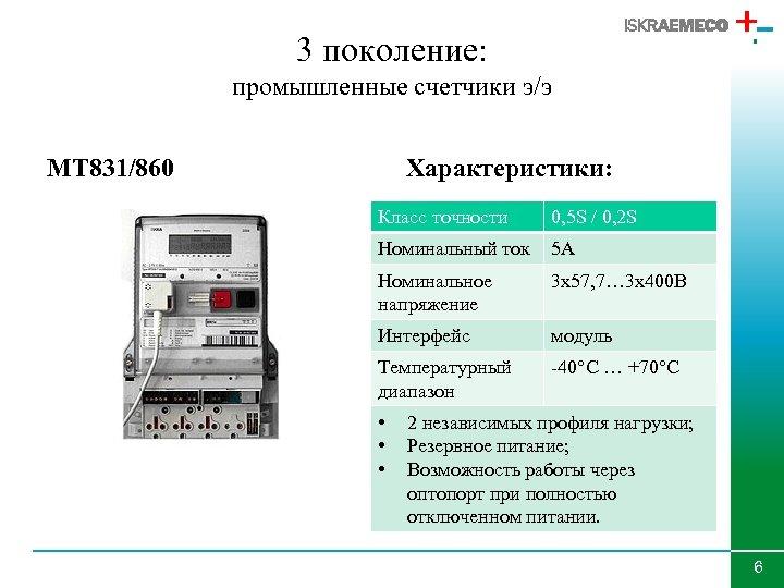 3 поколение: промышленные счетчики э/э MT 831/860 Характеристики: Класс точности 0, 5 S /