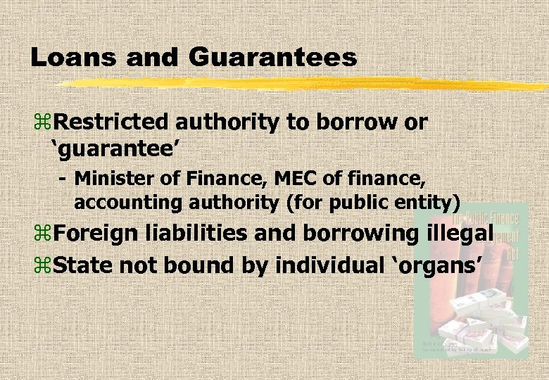 Loans and Guarantees z. Restricted authority to borrow or 'guarantee' - Minister of Finance,