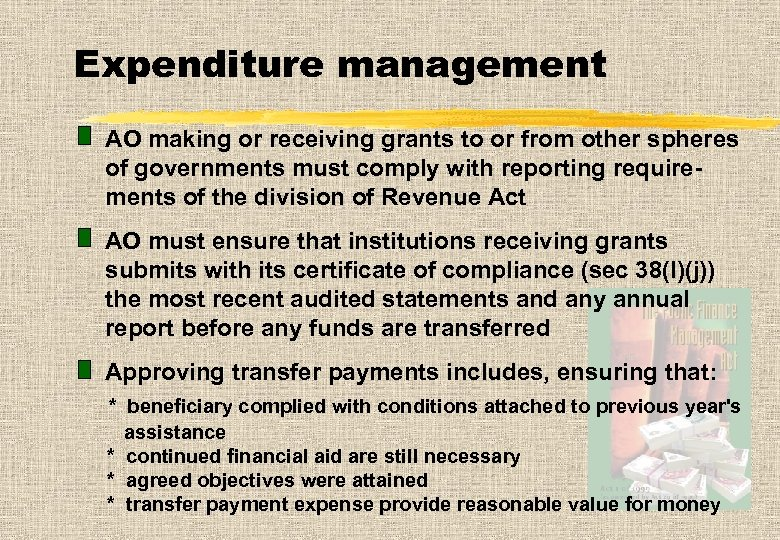 Expenditure management AO making or receiving grants to or from other spheres of governments