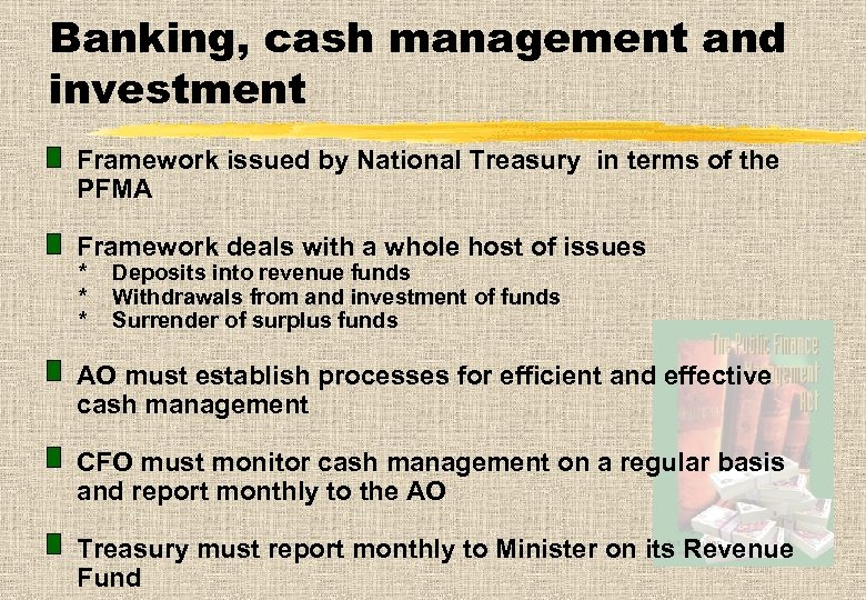Banking, cash management and investment Framework issued by National Treasury in terms of the