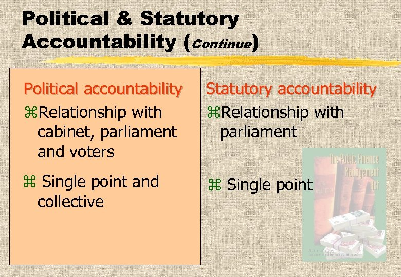 Political & Statutory Accountability (Continue) Political accountability z. Relationship with cabinet, parliament and voters