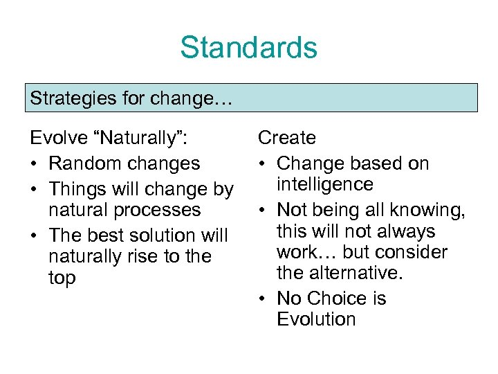 "Standards Strategies for change… Evolve ""Naturally"": • Random changes • Things will change by"