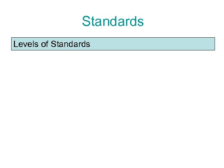 Standards Levels of Standards