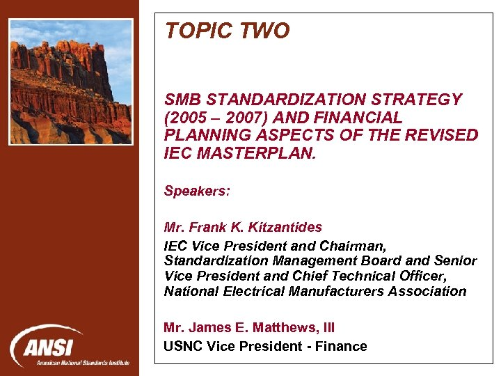 TOPIC TWO SMB STANDARDIZATION STRATEGY (2005 – 2007) AND FINANCIAL PLANNING ASPECTS OF THE