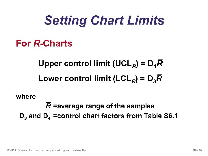 Setting Chart Limits For R-Charts Upper control limit (UCLR) = D 4 R Lower