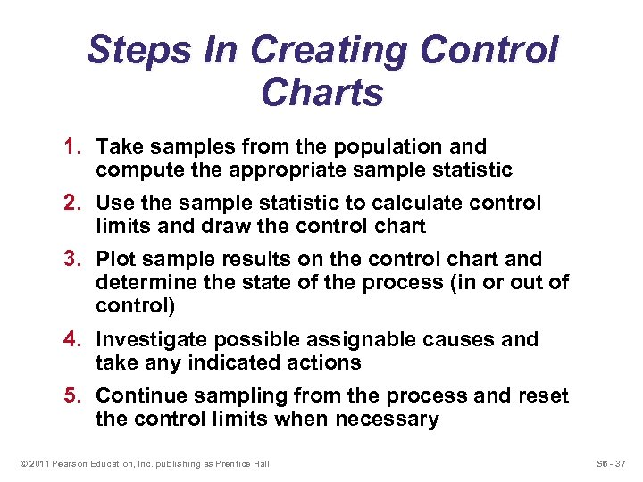 Steps In Creating Control Charts 1. Take samples from the population and compute the