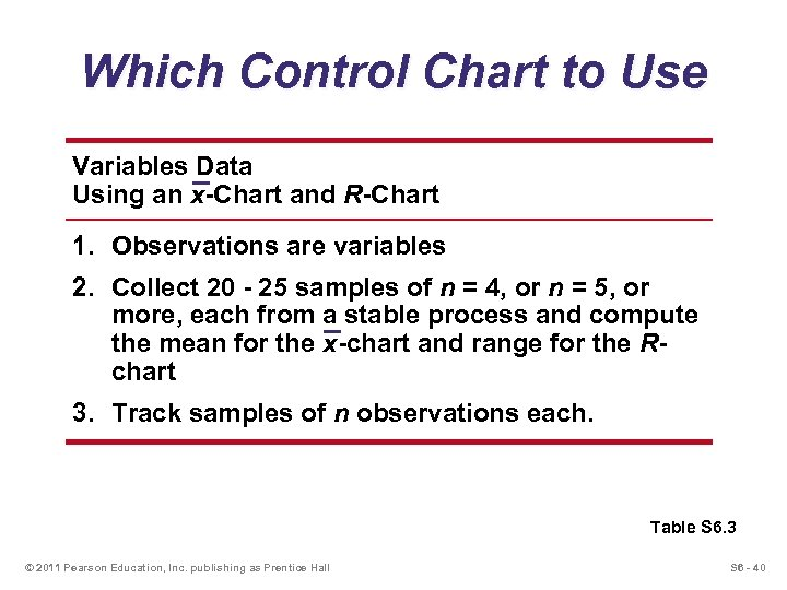 Which Control Chart to Use Variables Data Using an x-Chart and R-Chart 1. Observations