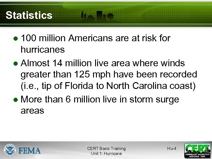 Statistics ● 100 million Americans are at risk for hurricanes ● Almost 14 million