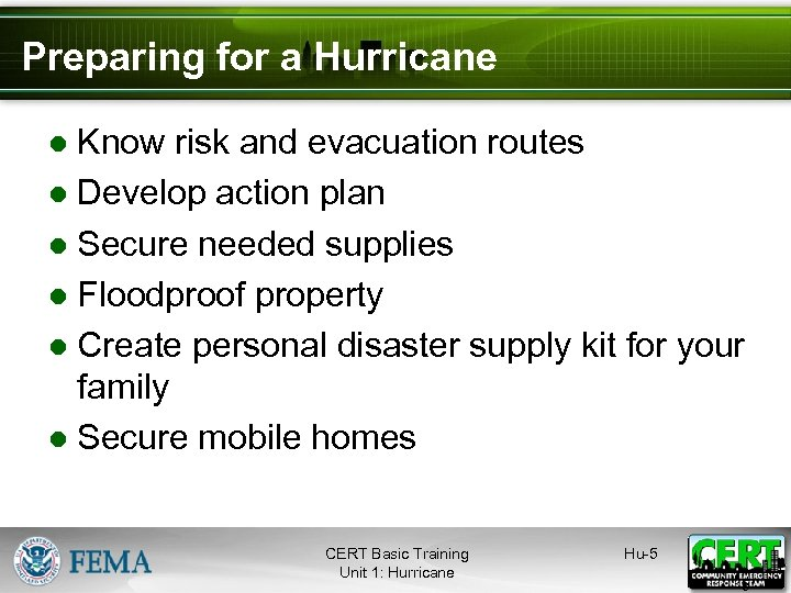 Preparing for a Hurricane ● Know risk and evacuation routes ● Develop action plan