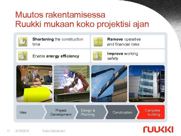 Muutos rakentamisessa Ruukki mukaan koko projektisi ajan Shorten the construction Shortening the construction time