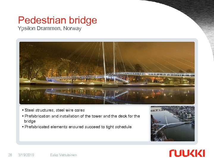 Pedestrian bridge Ypsilon Drammen, Norway • Steel structures, steel wire cores • Prefabrication and