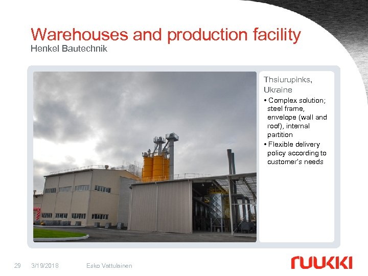 Warehouses and production facility Henkel Bautechnik Thsiurupinks, Ukraine • Complex solution; steel frame, envelope