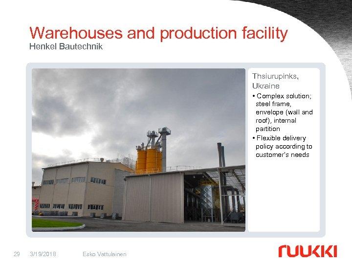 Warehouses and production facility Henkel Bautechnik Thsiurupinks, Ukraine • Complex solution; steel frame, envelope