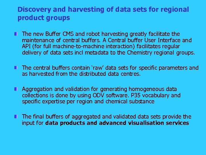 Discovery and harvesting of data sets for regional product groups The new Buffer CMS