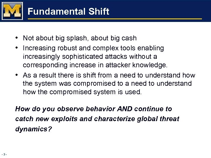 Fundamental Shift • Not about big splash, about big cash • Increasing robust and