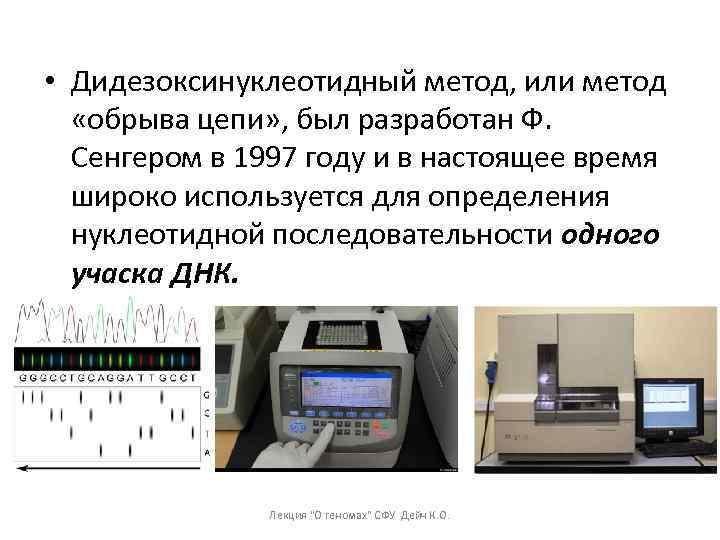 • Дидезоксинуклеотидный метод, или метод «обрыва цепи» , был разработан Ф. Сенгером в