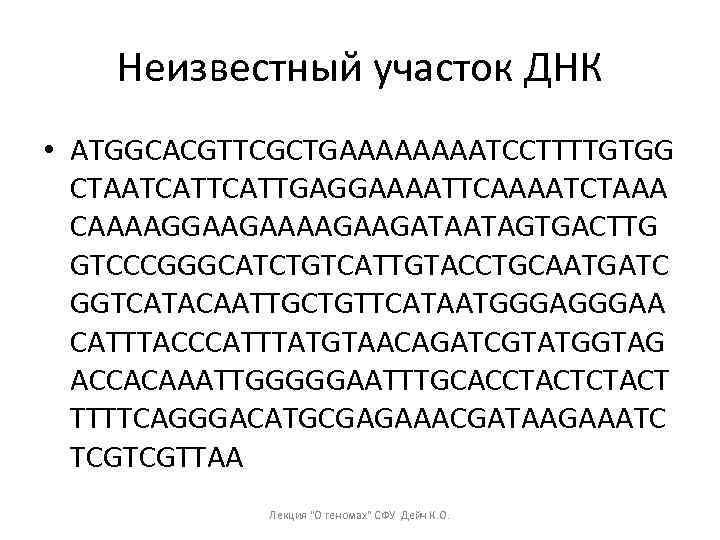 Неизвестный участок ДНК • ATGGCACGTTCGCTGAAAATCCTTTTGTGG CTAATCATTGAGGAAAATTCAAAATCTAAA CAAAAGGAAGAAGATAATAGTGACTTG GTCCCGGGCATCTGTCATTGTACCTGCAATGATC GGTCATACAATTGCTGTTCATAATGGGAA CATTTACCCATTTATGTAACAGATCGTATGGTAG ACCACAAATTGGGGGAATTTGCACCTACT TTTTCAGGGACATGCGAGAAACGATAAGAAATC TCGTCGTTAA Лекция