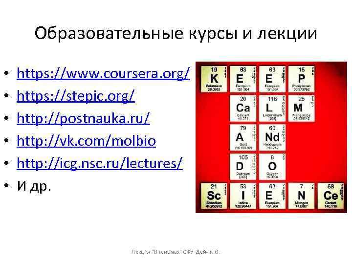 Образовательные курсы и лекции • • • https: //www. coursera. org/ https: //stepic. org/