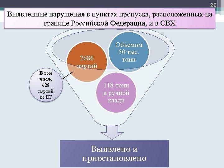 22 Выявленные нарушения в пунктах пропуска, расположенных на границе Российской Федерации, и в СВХ