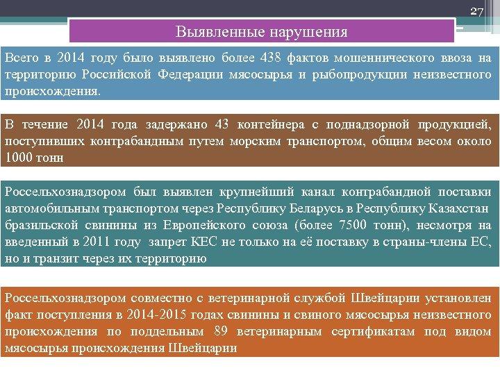 27 Выявленные нарушения Всего в 2014 году было выявлено более 438 фактов мошеннического ввоза