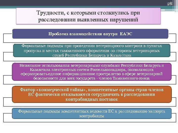28 Трудности, с которыми столкнулись при расследовании выявленных нарушений Проблема взаимодействия внутри ЕАЭС Формальные