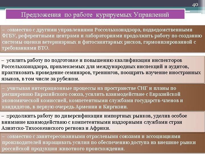 40 Предложения по работе курируемых Управлений – совместно с другими управлениями Россельхознадзора, подведомственными ФГБУ,