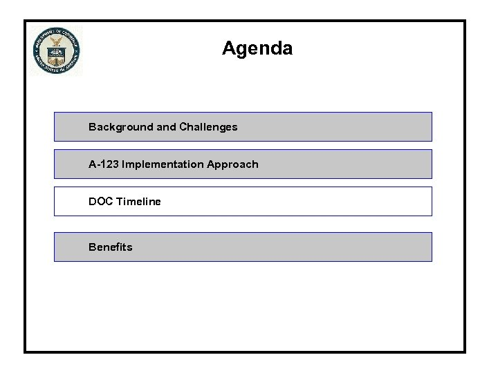 Agenda Background and Challenges A-123 Implementation Approach DOC Timeline Benefits