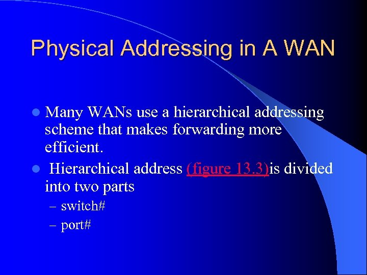 Physical Addressing in A WAN l Many WANs use a hierarchical addressing scheme that