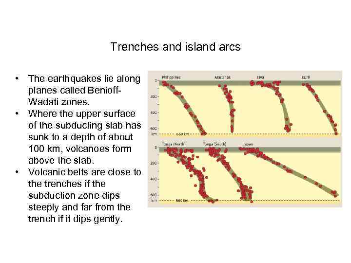 Trenches and island arcs • The earthquakes lie along planes called Benioff. Wadati zones.
