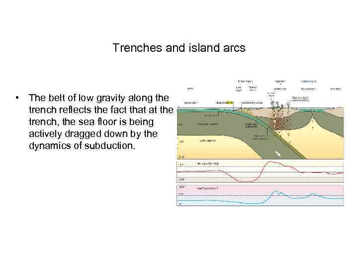 Trenches and island arcs • The belt of low gravity along the trench reflects