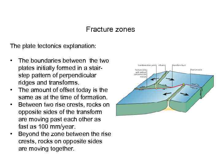 Fracture zones The plate tectonics explanation: • The boundaries between the two plates initially