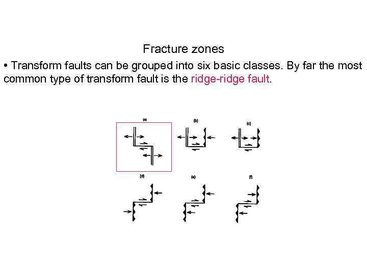 Fracture zones • Transform faults can be grouped into six basic classes. By far