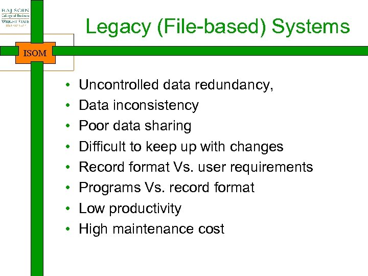 Legacy (File-based) Systems ISOM • • Uncontrolled data redundancy, Data inconsistency Poor data sharing