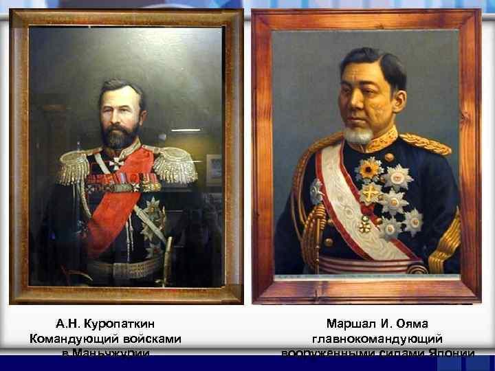 А. Н. Куропаткин Командующий войсками в Маньчжурии Маршал И. Ояма главнокомандующий вооруженными силами Японии