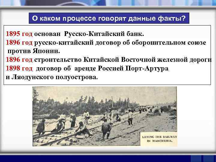 О каком процессе говорят данные факты? 1895 год основан Русско-Китайский банк. 1896 год русско-китайский