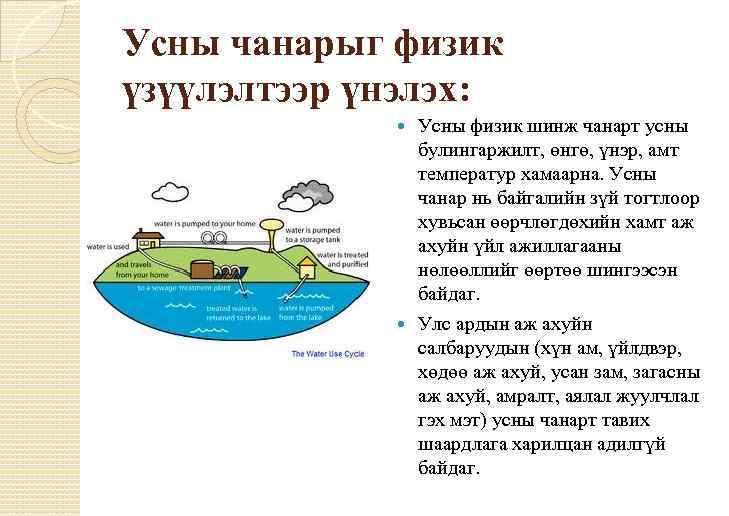 Усны чанарыг физик үзүүлэлтээр үнэлэх: Усны физик шинж чанарт усны булингаржилт, өнгө, үнэр, амт