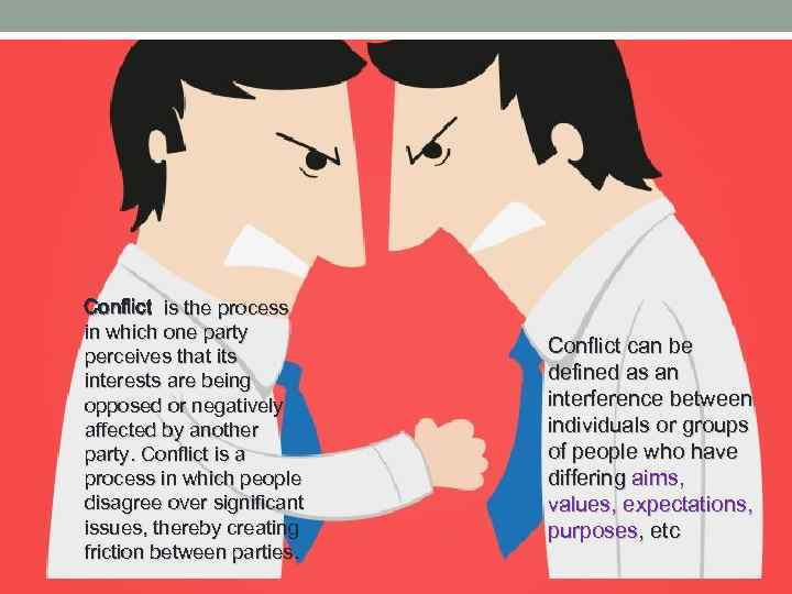 Conflict is the process in which one party perceives that its interests are being